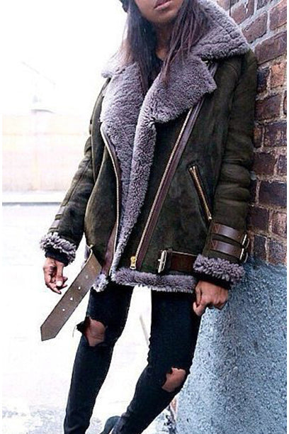 Faux Fur Lapel Zipper Loose Short Coat