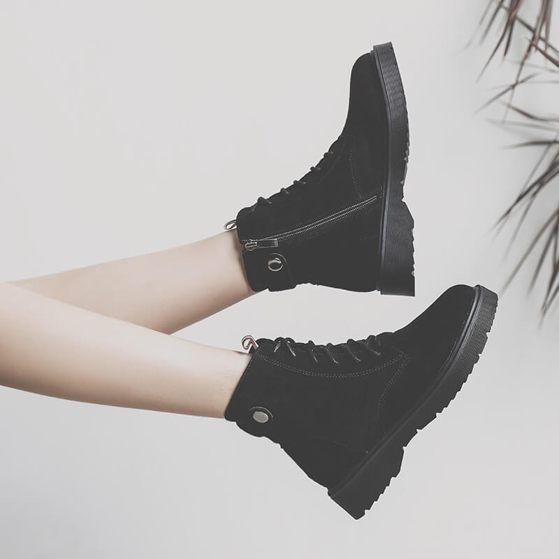 Lace Up Suede Zipper Flat Ankle Martin Boots