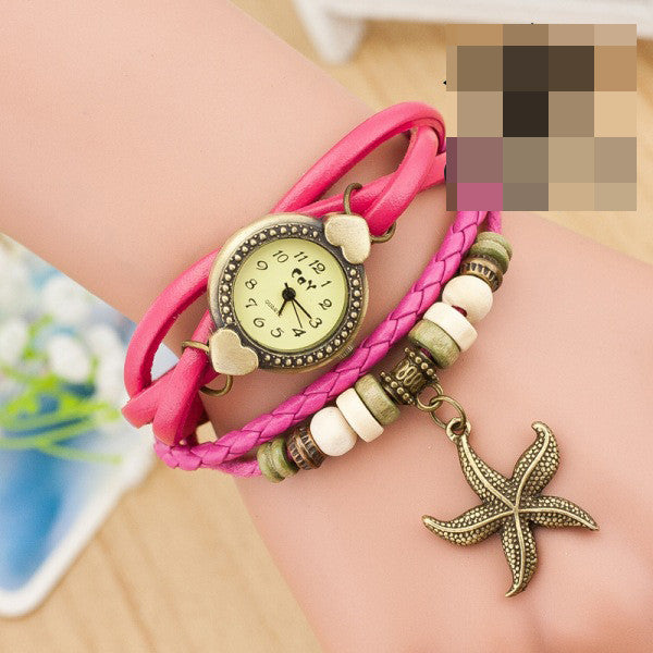 Heart Starfish Woven Bracelet Watch - Oh Yours Fashion - 2