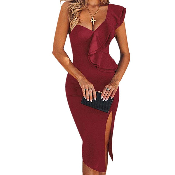 One Shoulder Slits Bodycon Dress