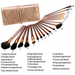 New Fashion 20-Piece Professional Makeup Brush Set Light Pouch Brushes Makeup Tool Set - Oh Yours Fashion - 9