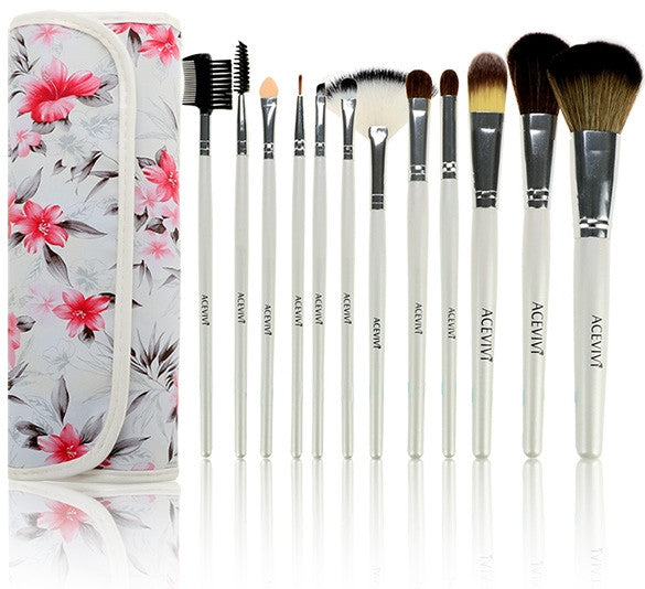 Acevivi Fashion Women's Professional 12pcs Soft Cosmetic Tool Makeup Brush Set Kit With Floral Printed Pouch - Oh Yours Fashion - 1
