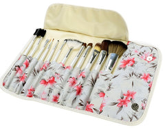 Acevivi Fashion Women's Professional 12pcs Soft Cosmetic Tool Makeup Brush Set Kit With Floral Printed Pouch - Oh Yours Fashion - 3
