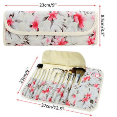 Acevivi Fashion Women's Professional 12pcs Soft Cosmetic Tool Makeup Brush Set Kit With Floral Printed Pouch - Oh Yours Fashion - 7