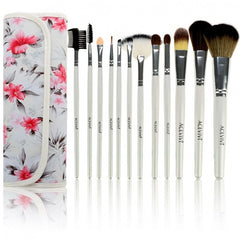 Acevivi Fashion Women's Professional 12pcs Soft Cosmetic Tool Makeup Brush Set Kit With Floral Printed Pouch - Oh Yours Fashion - 8