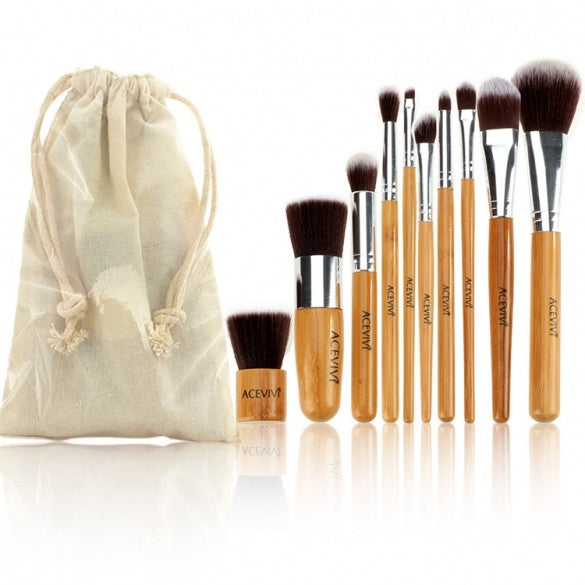Acevivi New Fashion Professional 10pcs Soft Cosmetic Tool Makeup Brush Set Kit With Pouch - Oh Yours Fashion - 1