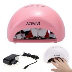 Acevivi New Professional Nail Art 12W LED Manicure Light Lamp Curing Gel Nail Polish Dryer EU Plug White Pink - Oh Yours Fashion - 1