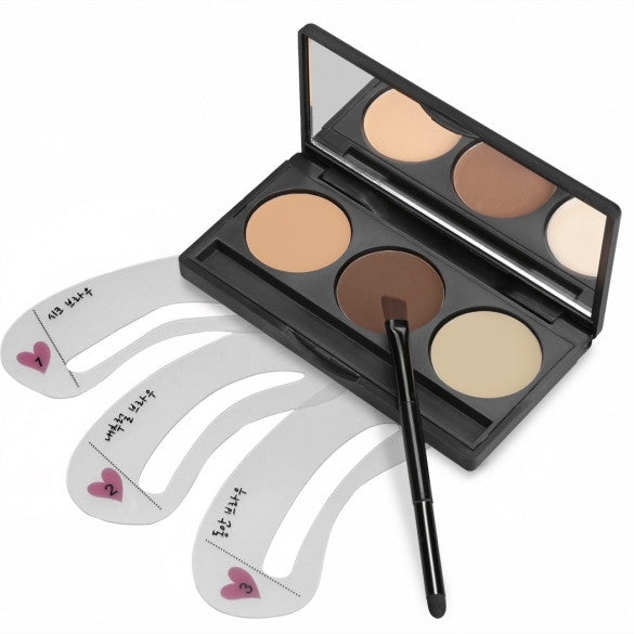ACEVIVI 3 Colors Eyebrow Powder Eye Brow Palette With 3 PCS Eyebrow Stencils Set - Oh Yours Fashion