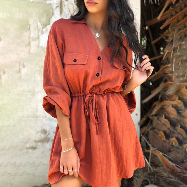 Vintage Elagant Women Mini Shirt Dress Casual Lantern Sleeve Short Dress Turndown Collar Lace Up Linen Female Dresses