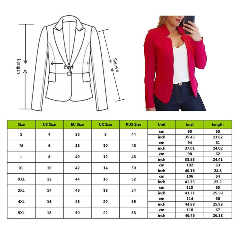 Fashion Spring Business Formal Blazers Lady Office Casual Suit Solid Jackets Coat Long-sleeved Slim Blazer