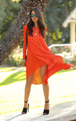 Asymmetrical Long Chiffon Dress Beachwear - O Yours Fashion - 2