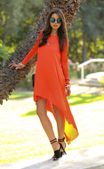 Asymmetrical Long Chiffon Dress Beachwear - O Yours Fashion - 3