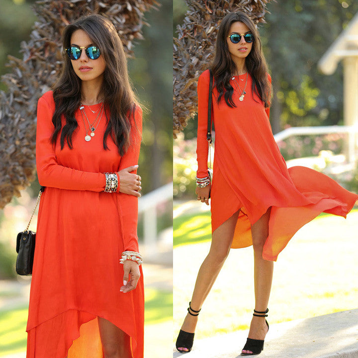Asymmetrical Long Chiffon Dress Beachwear - O Yours Fashion - 1
