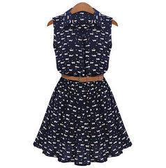Floral A-line Print Lapel Collar Sundress with Belt Dress - Oh Yours Fashion - 2