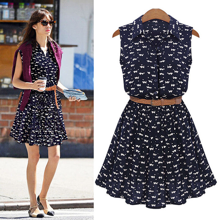 Floral A-line Print Lapel Collar Sundress with Belt Dress - Oh Yours Fashion - 1