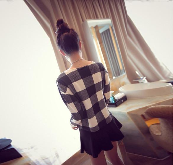 Round Neck Long Sleeve Loose Short Blouse Tops T-Shirt - MeetYoursFashion - 6