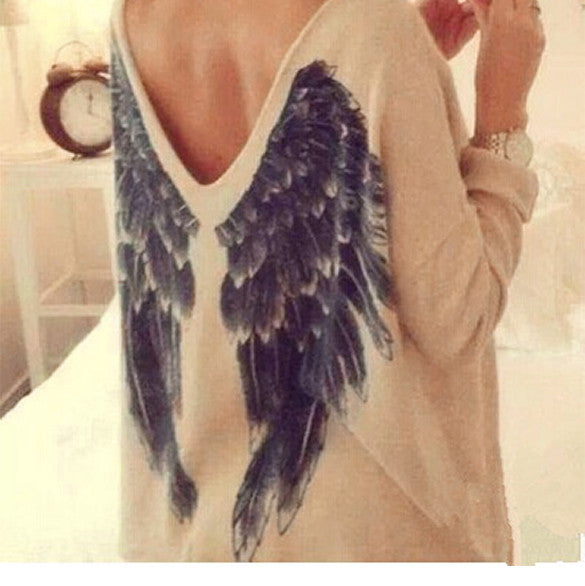 Back Wing Long Sleeve Crewneck Pullover Basic Top Blouse - O Yours Fashion - 3