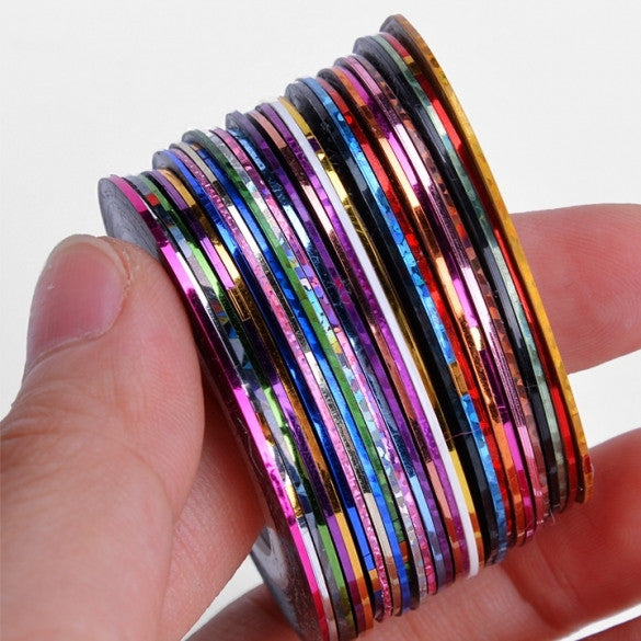 30Pcs Mixed Colors Rolls Striping Tape Line DIY Nail Art Tips Decoration Sticker Nail Care - Oh Yours Fashion