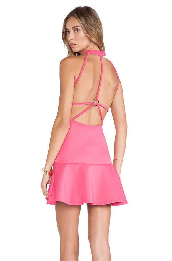 Women's Sexy Backless Flounced Cocktail Dress - O Yours Fashion - 4