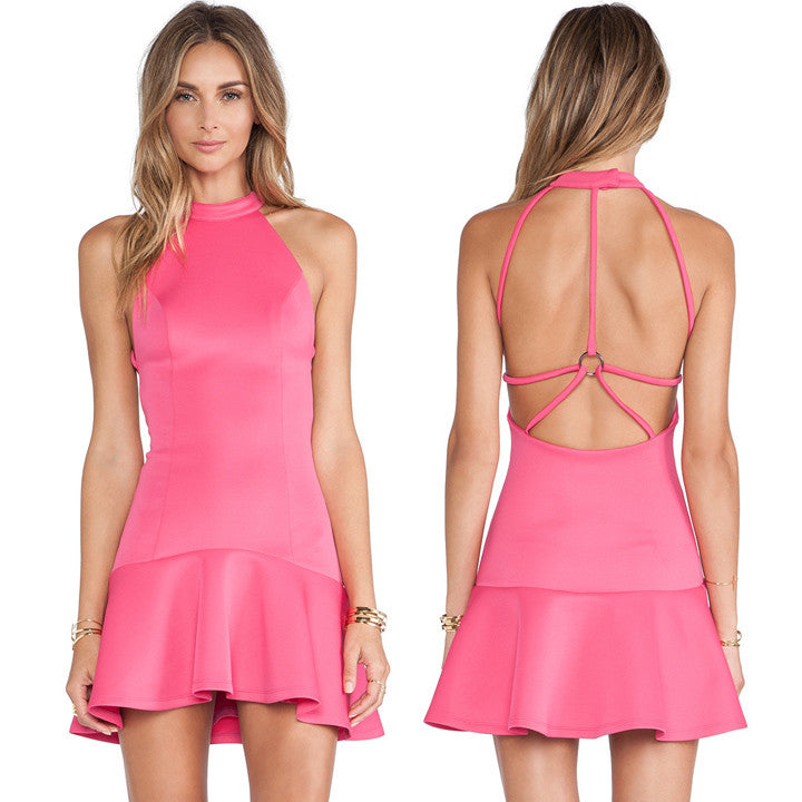 Women's Sexy Backless Flounced Cocktail Dress - O Yours Fashion - 1