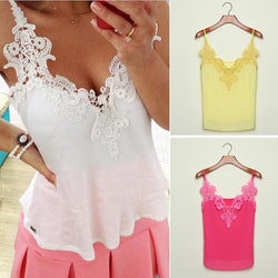 Lace Splicing Chiffon Strap Blouse - MeetYoursFashion - 1