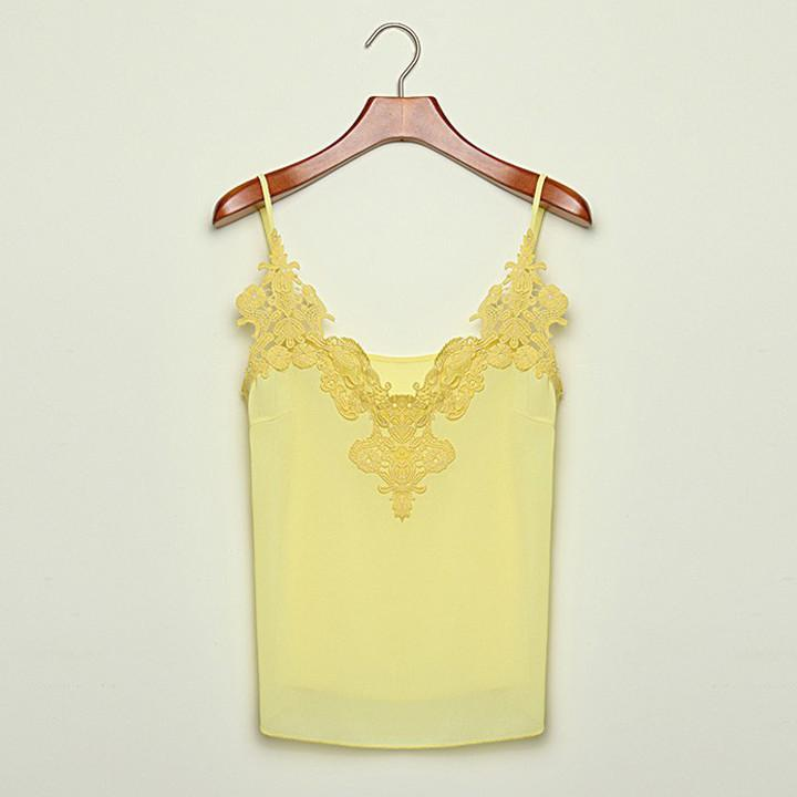 Lace Splicing Chiffon Strap Blouse - MeetYoursFashion - 4