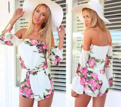 Floral Printed Off Shoulder Short Beach Jumpsuit - MeetYoursFashion - 1