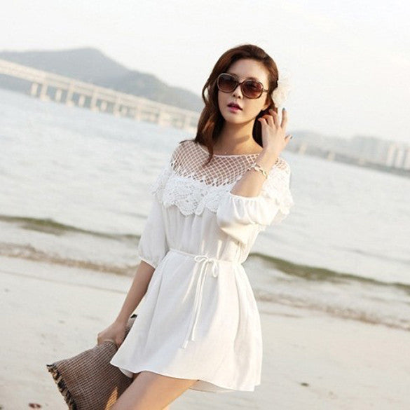 Fashion 3/4 Sleeve Hollow Out Lace Splicing Beach Dress - O Yours Fashion - 1