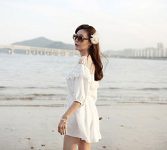 Fashion 3/4 Sleeve Hollow Out Lace Splicing Beach Dress - O Yours Fashion - 3