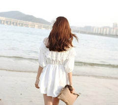 Fashion 3/4 Sleeve Hollow Out Lace Splicing Beach Dress - O Yours Fashion - 4