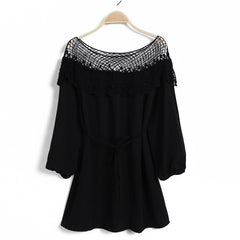 Fashion 3/4 Sleeve Hollow Out Lace Splicing Beach Dress - O Yours Fashion - 5
