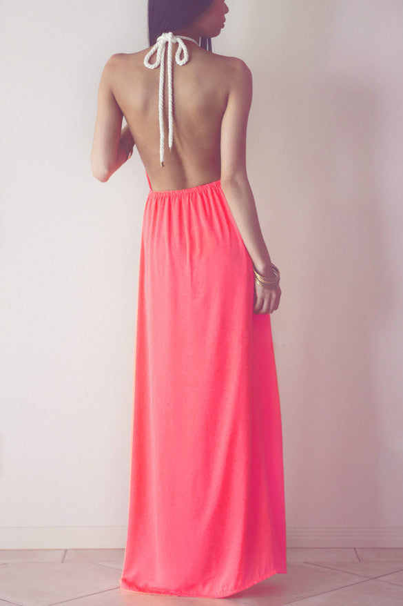 Hollow Out Halter Pink Backless Split Long Maxi Beach Dress - O Yours Fashion - 4