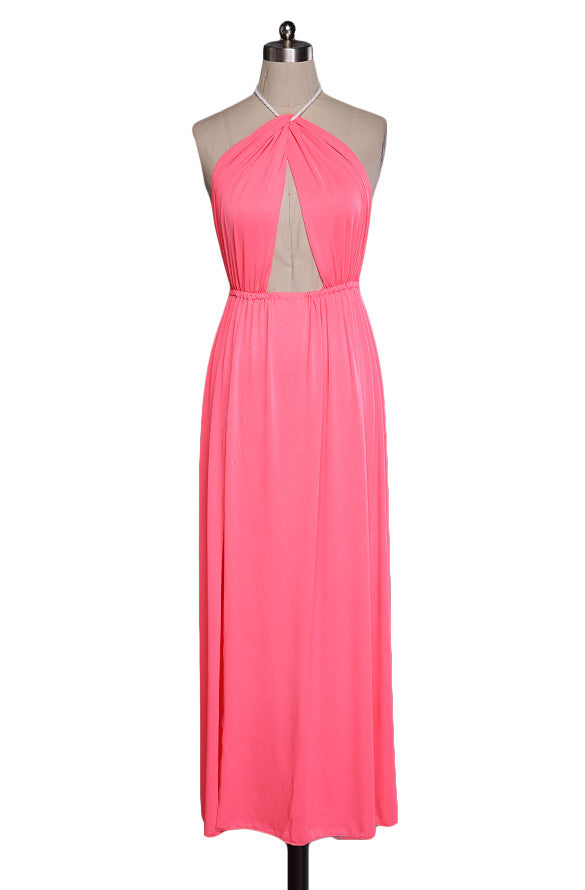 Hollow Out Halter Pink Backless Split Long Maxi Beach Dress - O Yours Fashion - 6