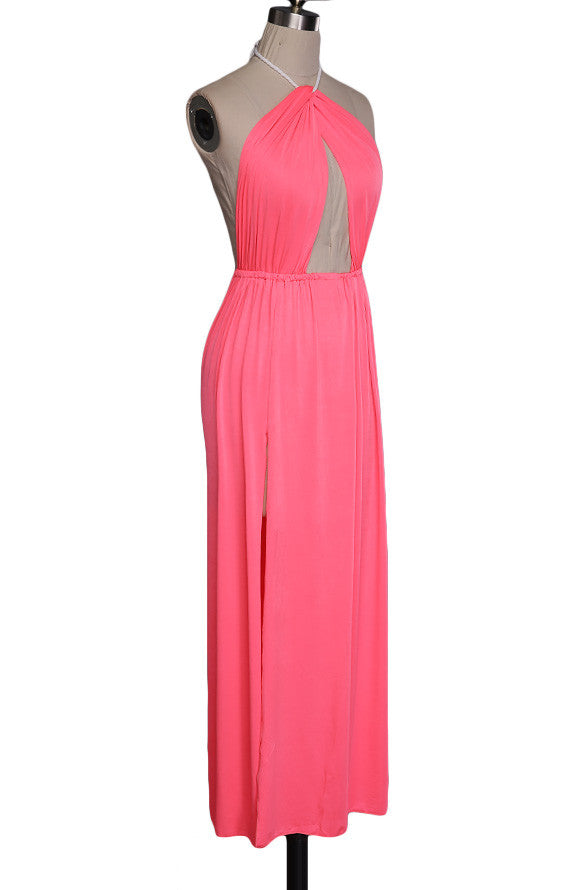 Hollow Out Halter Pink Backless Split Long Maxi Beach Dress - O Yours Fashion - 7