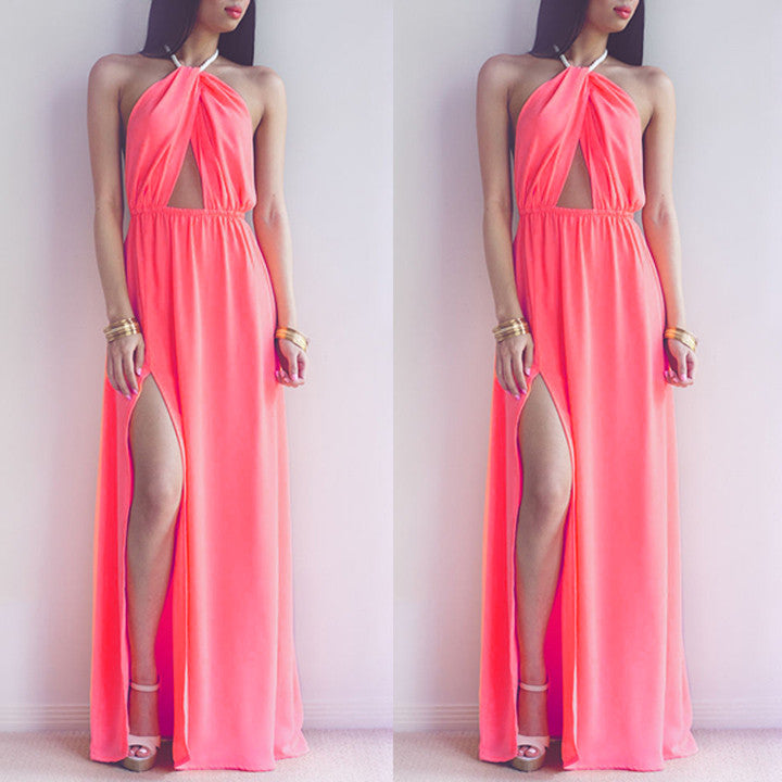 Hollow Out Halter Pink Backless Split Long Maxi Beach Dress - O Yours Fashion - 2