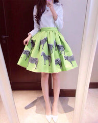 Print Animal Zebra Pleated Double-layer Flared Short Tutu Skirt - O Yours Fashion - 2