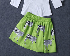 Print Animal Zebra Pleated Double-layer Flared Short Tutu Skirt - O Yours Fashion - 3