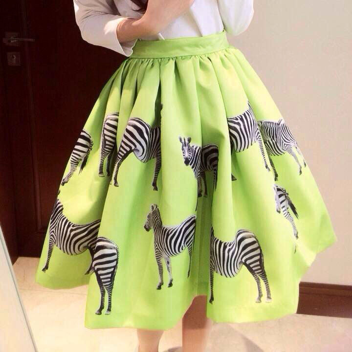 Print Animal Zebra Pleated Double-layer Flared Short Tutu Skirt - O Yours Fashion - 1