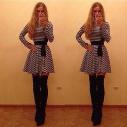 Plaid Long Sleeve O-neck Short Chiffon Dress - O Yours Fashion - 1