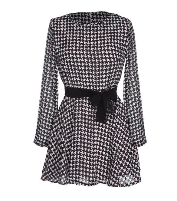 Plaid Long Sleeve O-neck Short Chiffon Dress - O Yours Fashion - 4