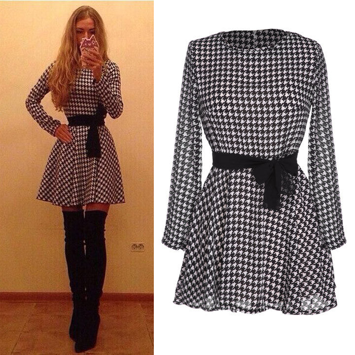 Plaid Long Sleeve O-neck Short Chiffon Dress - O Yours Fashion - 3