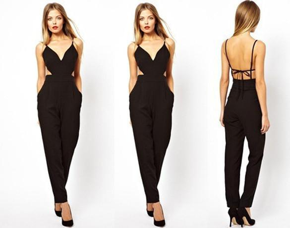 Ladies Sleeveless Sexy V-Neck Backless Jumpsuits - MeetYoursFashion - 3