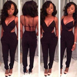 Ladies Sleeveless Sexy V-Neck Backless Jumpsuits - MeetYoursFashion - 1