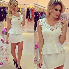OL Lace Splicing Package Hip Short Dress - O Yours Fashion - 1