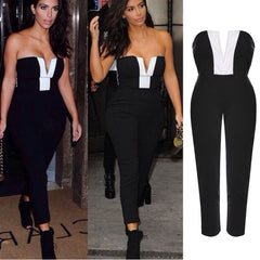 Strapless Deep V-neck Long Jumpsuit - O Yours Fashion - 3