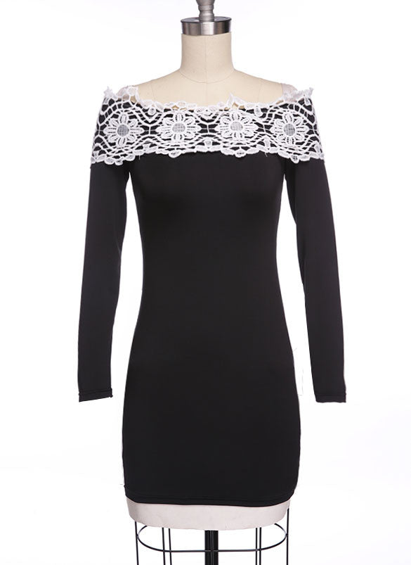 Off Shoulder Long Sleeves Slim Lace Little Black Dress - O Yours Fashion - 3
