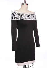 Off Shoulder Long Sleeves Slim Lace Little Black Dress - O Yours Fashion - 4