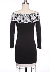 Off Shoulder Long Sleeves Slim Lace Little Black Dress - O Yours Fashion - 5
