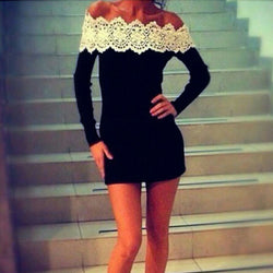 Off Shoulder Long Sleeves Slim Lace Little Black Dress - O Yours Fashion - 1