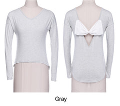Loose V-neck Backless Bowknot Splicing Tops Blouse - Oh Yours Fashion - 11